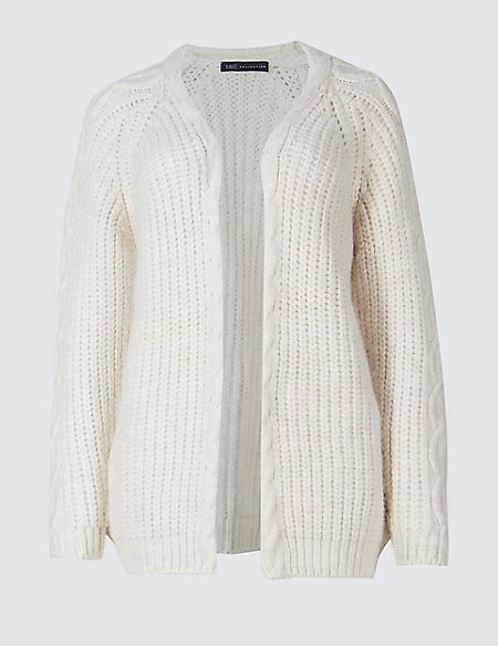 Ribbed Cable Knit Cardigan