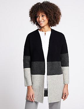 Colour Block Longline Open Front Cardigan , NAVY MIX, catlanding