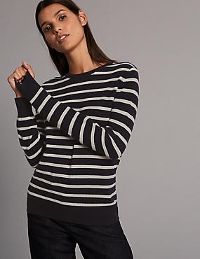 Pure Cashmere Striped Round Neck Jumper, , catlanding