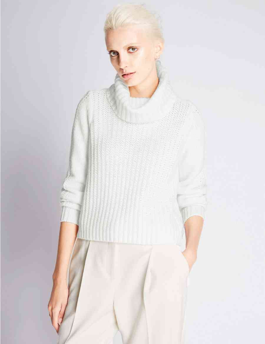 Chunky Knit Cowl Neck Jumper with Wool | Autograph | M&S