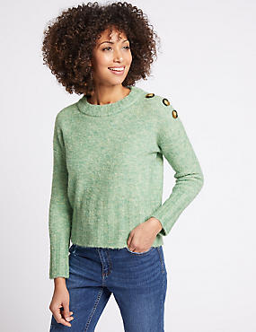 Button Shoulder Round Neck Jumper, EMERALD, catlanding