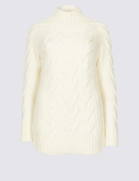 Pearl Embellished Long Sleeve Jumper