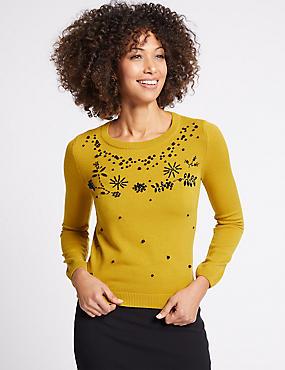 Embellished Round Neck Long Sleeve Jumper , WINTER LIME, catlanding