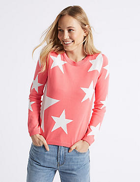 Pure Cotton Star Print Round Neck Jumper , WATERMELON, catlanding
