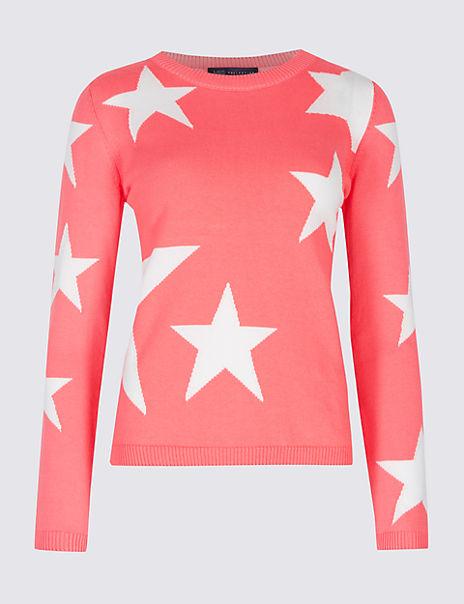 Pure Cotton Star Print Round Neck Jumper