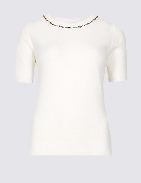 Embellished Round Neck Short Sleeve Jumper