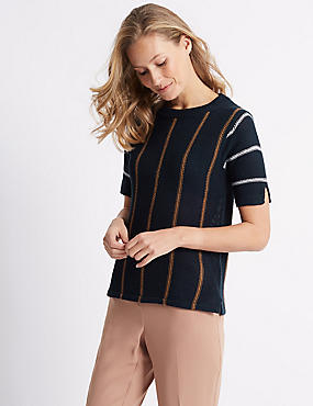 Striped Round Neck Half Sleeve Jumper , NAVY MIX, catlanding