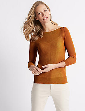 Cotton Rich Textured Scoop Neck Jumper , COPPER TAN, catlanding