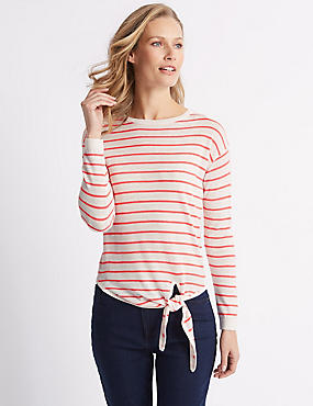 Striped Round Neck Long Sleeve Jumper, HOT PINK, catlanding