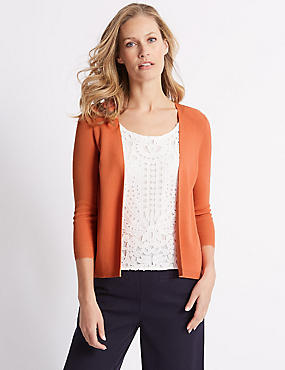 Lace Layer Scoop Neck 3/4 Sleeve Jumper, ORANGE, catlanding