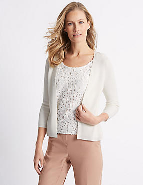 Lace Layer Scoop Neck 3/4 Sleeve Jumper, WINTER WHITE, catlanding