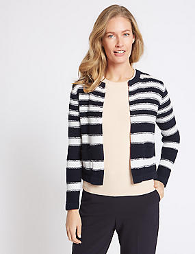 Pure Cotton Striped Cardigan , NAVY MIX, catlanding