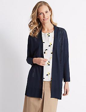 Longline Long Sleeve Cardigan with Linen, NAVY, catlanding