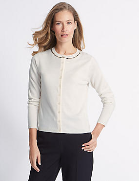 Embellished Long Sleeve Cardigan  , CREAM, catlanding