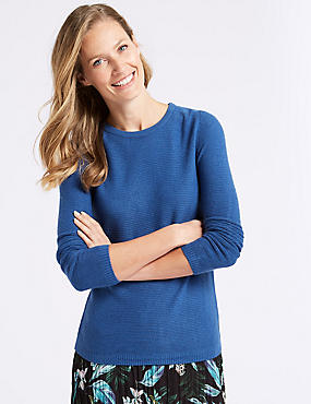 Ripple Round Neck Jumper, BRIGHT BLUE, catlanding