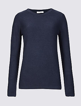 Ripple Round Neck Jumper, NAVY, catlanding
