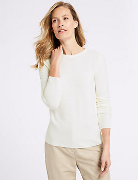 Ripple Round Neck Jumper, CREAM, catlanding