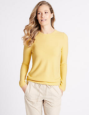 Ripple Round Neck Jumper, CITRUS, catlanding