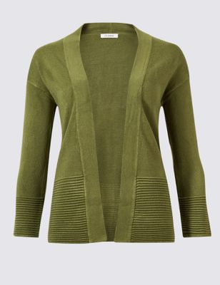 Textured 3/4 Sleeve Cardigan by Marks & Spencer