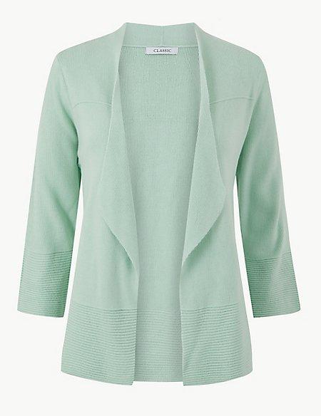 Textured 3/4 Sleeve Cardigan