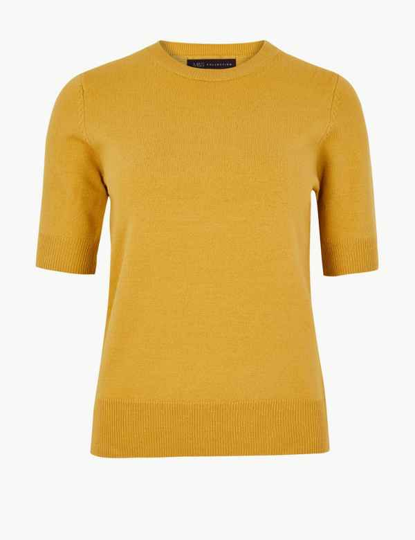 Textured Round Neck Short Sleeve Jumper. M S Collection 8d725e7b3934