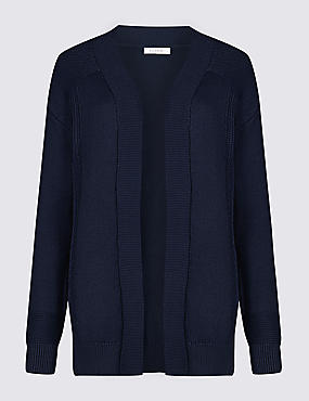 Pure Cotton Longline Cardigan, NAVY, catlanding