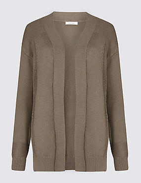 Pure Cotton Longline Cardigan, FLINT, catlanding