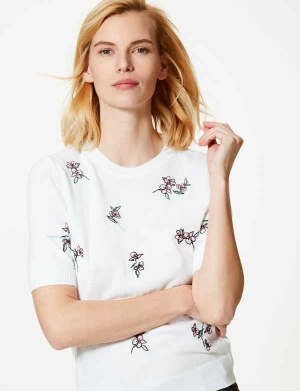 d7e0c0e2183 Cashmilon™ Floral Print Round Neck Knitted Top