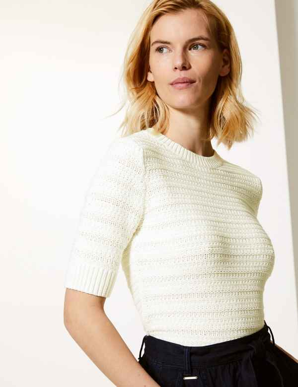 503ac3d1871 Pure Cotton Textured Short Sleeve Jumper. M S Collection