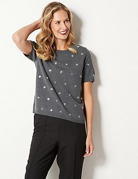 Embellished Round Neck Short Sleeve Jumper, DARK GREY, catlanding