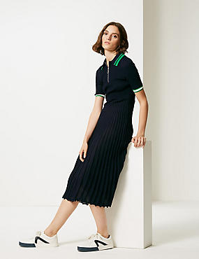 Textured Collared Neck Jumper Dress, NAVY, catlanding