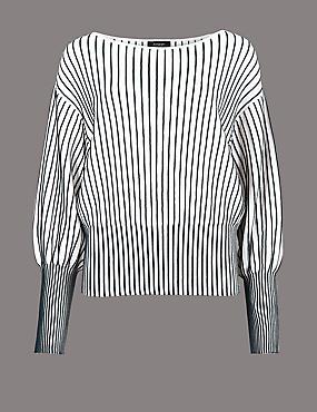 Vertical Stripe Bubble Sleeve Jumper, SOFT WHITE, catlanding