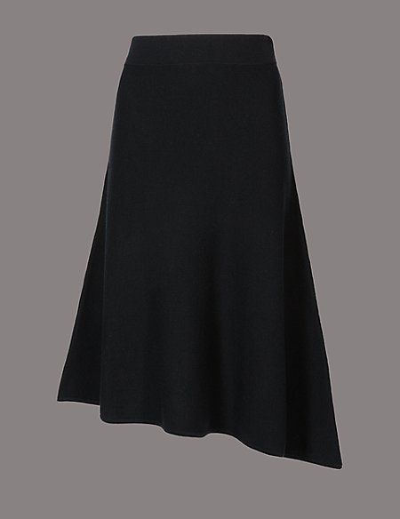 Wool Blend Ribbed Asymmetrical Midi Skirt