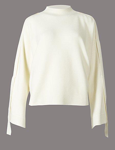Cotton Blend Ribbed Strap Sleeve Jumper