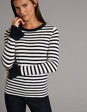 Pure Wool Striped Flared Cuff Jumper