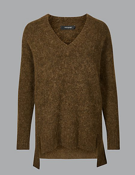 Wool Blend Textured V-Neck Jumper