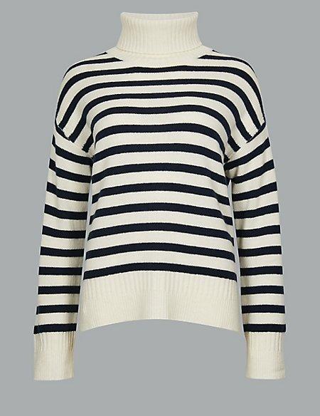 Pure Cashmere Striped Roll Neck Jumper