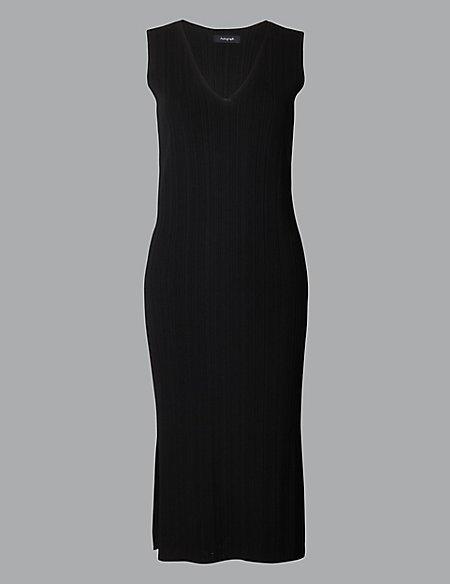 Textured V-Neck Knitted Dresses