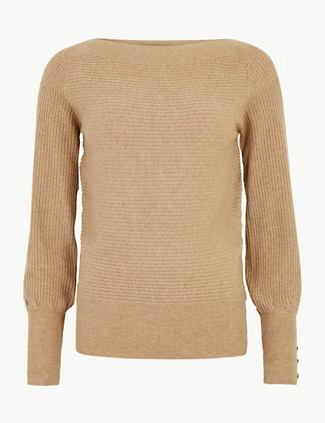 Slash Neck Long Sleeve Jumper