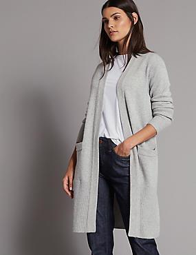Wool Rich Open Front Longline Cardigan, MID GREY MARL, catlanding