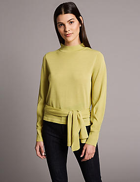 Funnel Neck Long Sleeve Tie Waist Jumper, WINTER LIME, catlanding