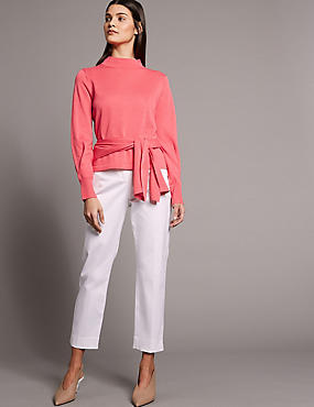 Funnel Neck Tie Waist Jumper with Linen, WATERMELON, catlanding