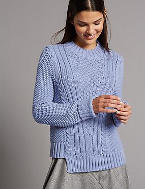 Cotton Blend Step Hem Cable Knit Jumper, WEDGEWOOD, catlanding