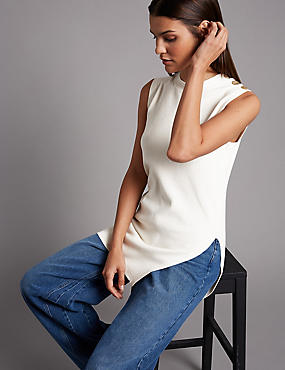 Textured Round Neck Jumper, IVORY MIX, catlanding