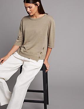 Linen Rich Textured 3/4 Sleeve Jumper, BEIGE, catlanding