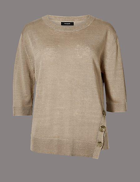 Linen Rich Textured 3/4 Sleeve Jumper