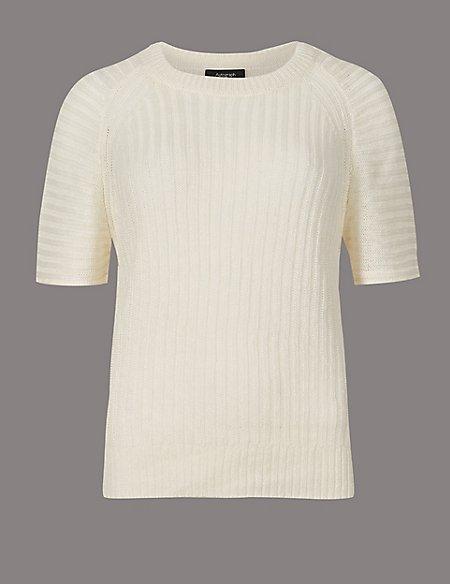 Pure Linen Textured Short Sleeve Jumper