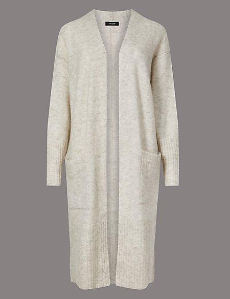 Wool Blend Textured Longline Cardigan