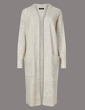Wool Blend Textured Longline Cardigan