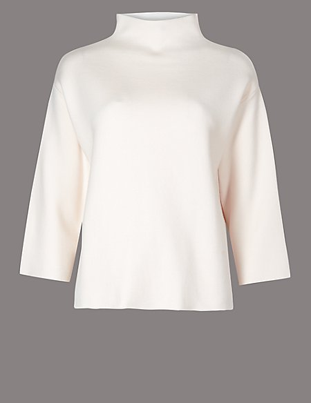Funnel Neck 3/4 Sleeve Jumper